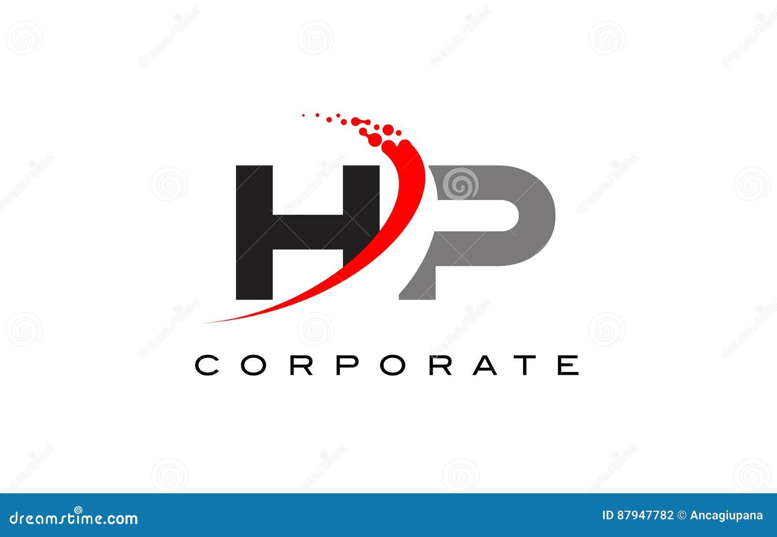 HP Modern Letter Logo Design with Swoosh