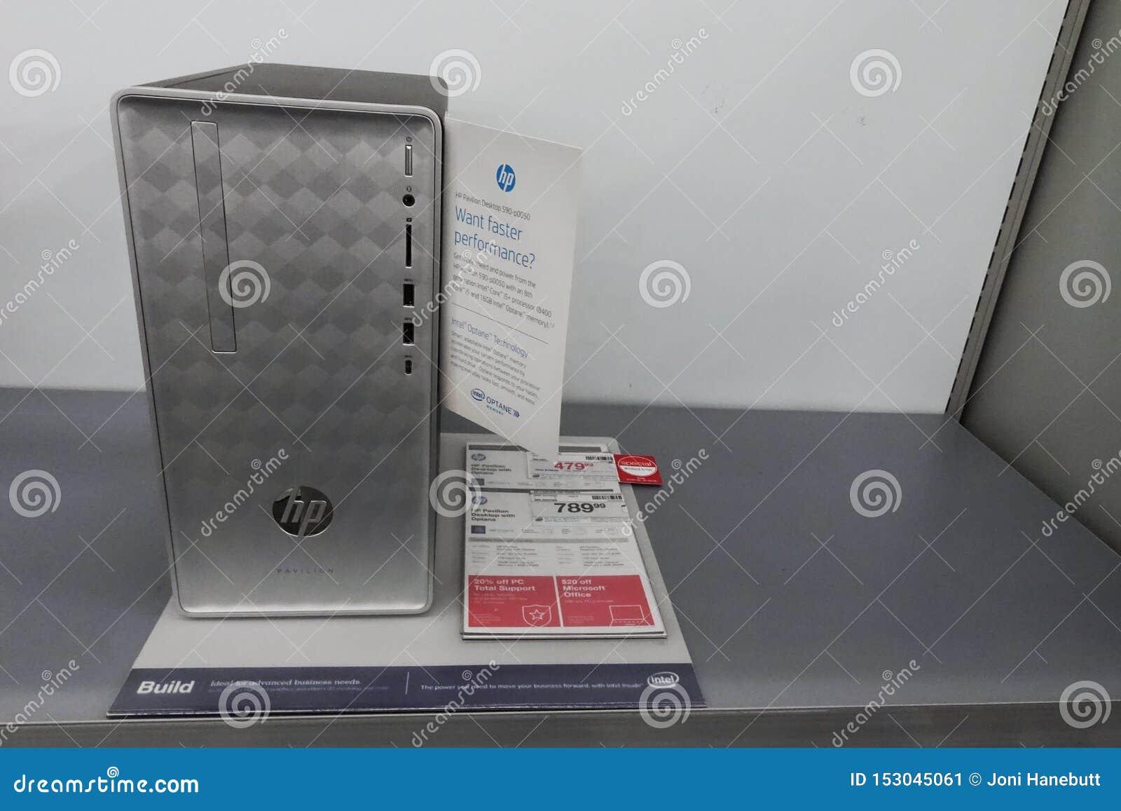 HP skrivbords- dator på en detaljist