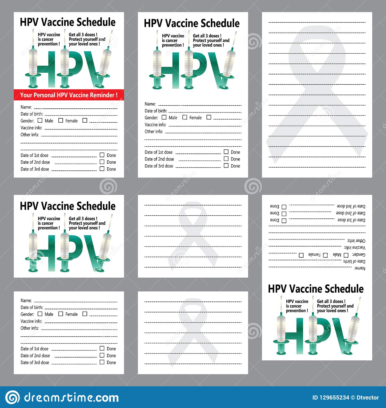 graphic relating to Immunization Card Printable identified as HPV Vaccine Program Reminder Sticker Card Template Preset