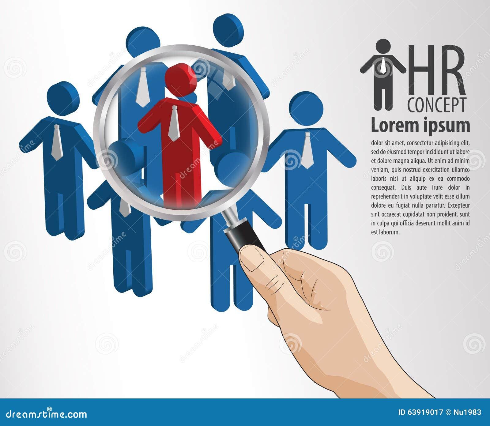hr概念手举行放大镜寻找工作的最佳的比赛人.图片