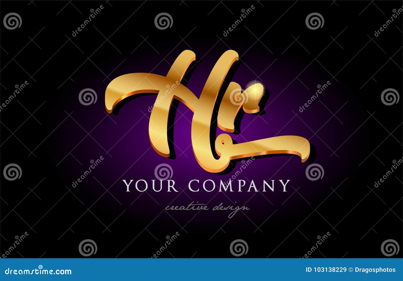 Hr H R 3d Gold Golden Alphabet Letter Metal Logo Icon Design H Stock