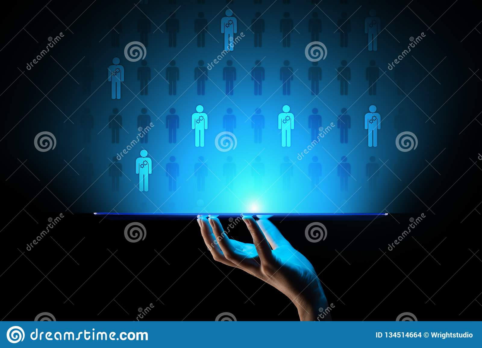 HR Human resources management, Team building, Recruitment, Talent wanted, Yearning, Employment Business concept.