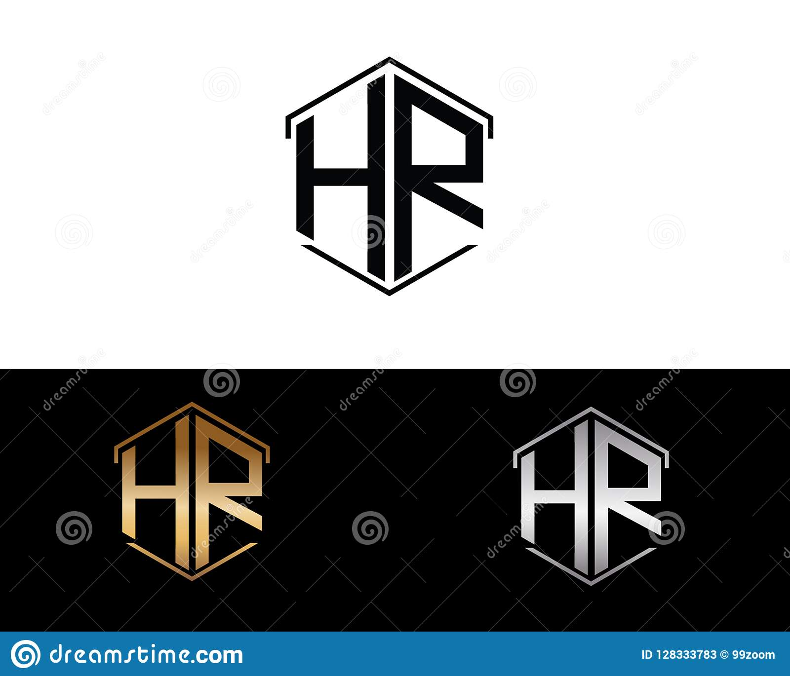 HR letters linked with hexagon shape logo