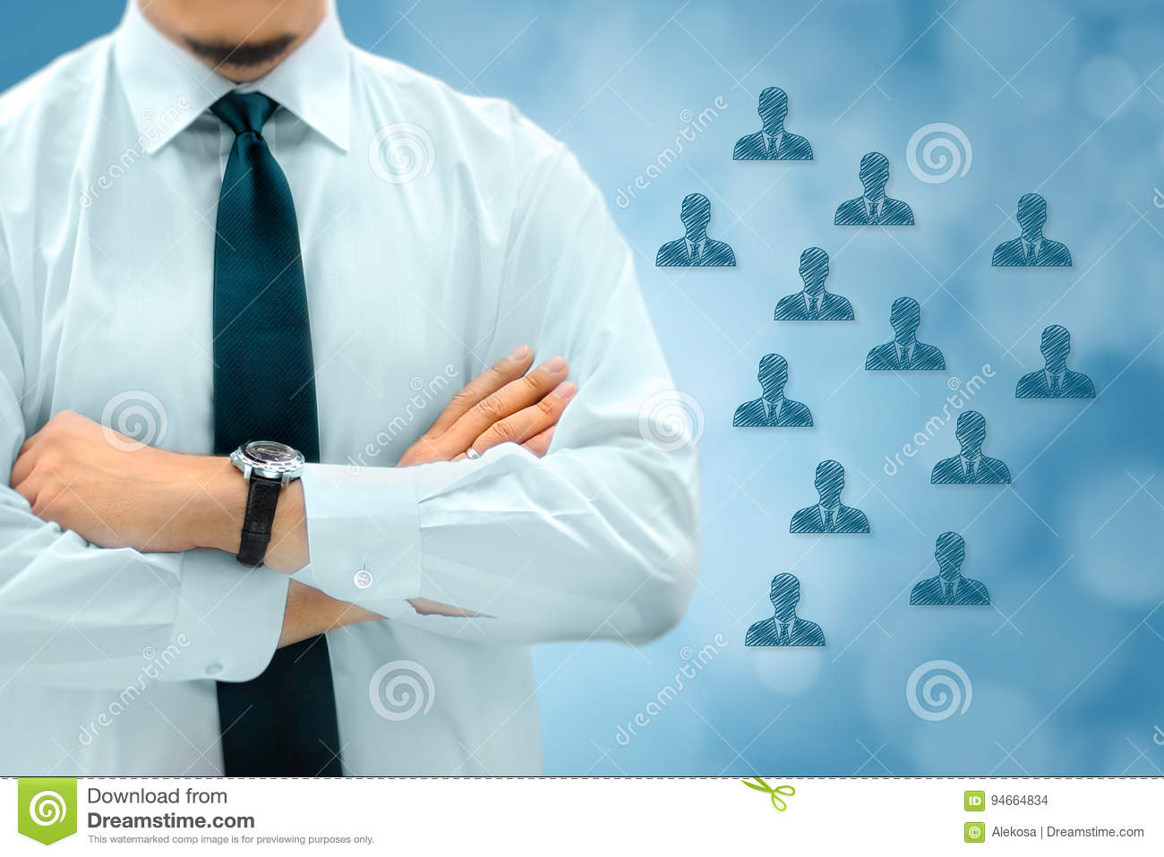 HR managementor marketing customer segmentation concept. Businessman silhouette in bacground. Manager thinks about eemployees or