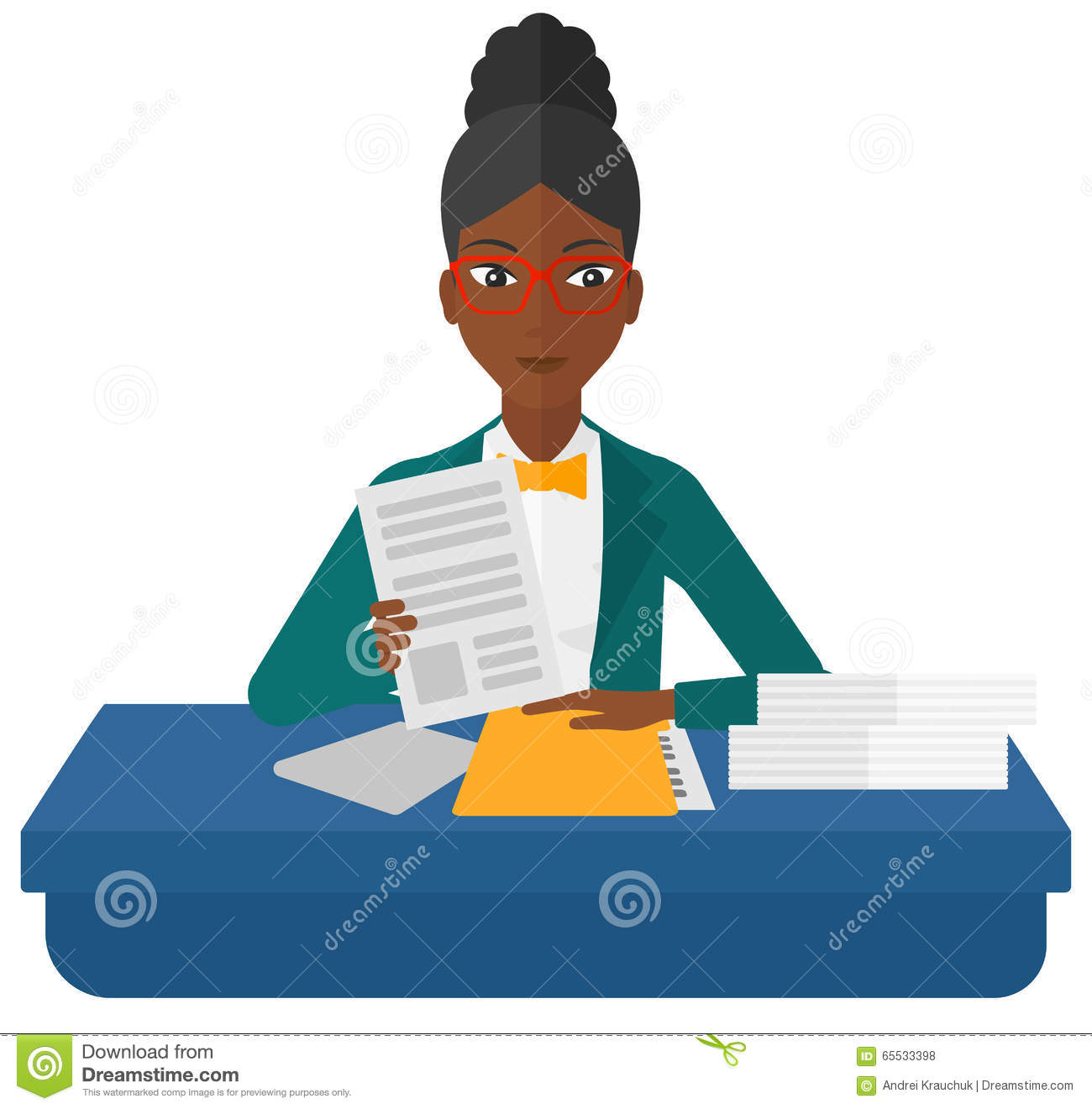 HR Manager Checking Files Stock Vector. Illustration Of