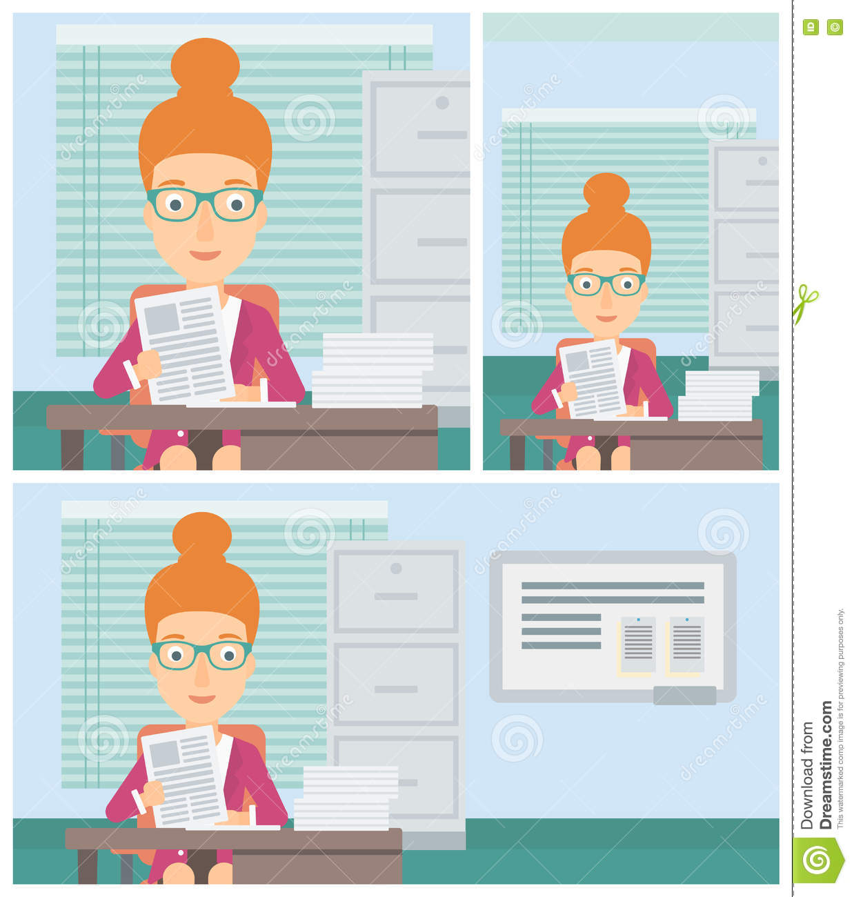 hr manager checking files vector illustration stock vector hr manager checking files vector illustration stock image