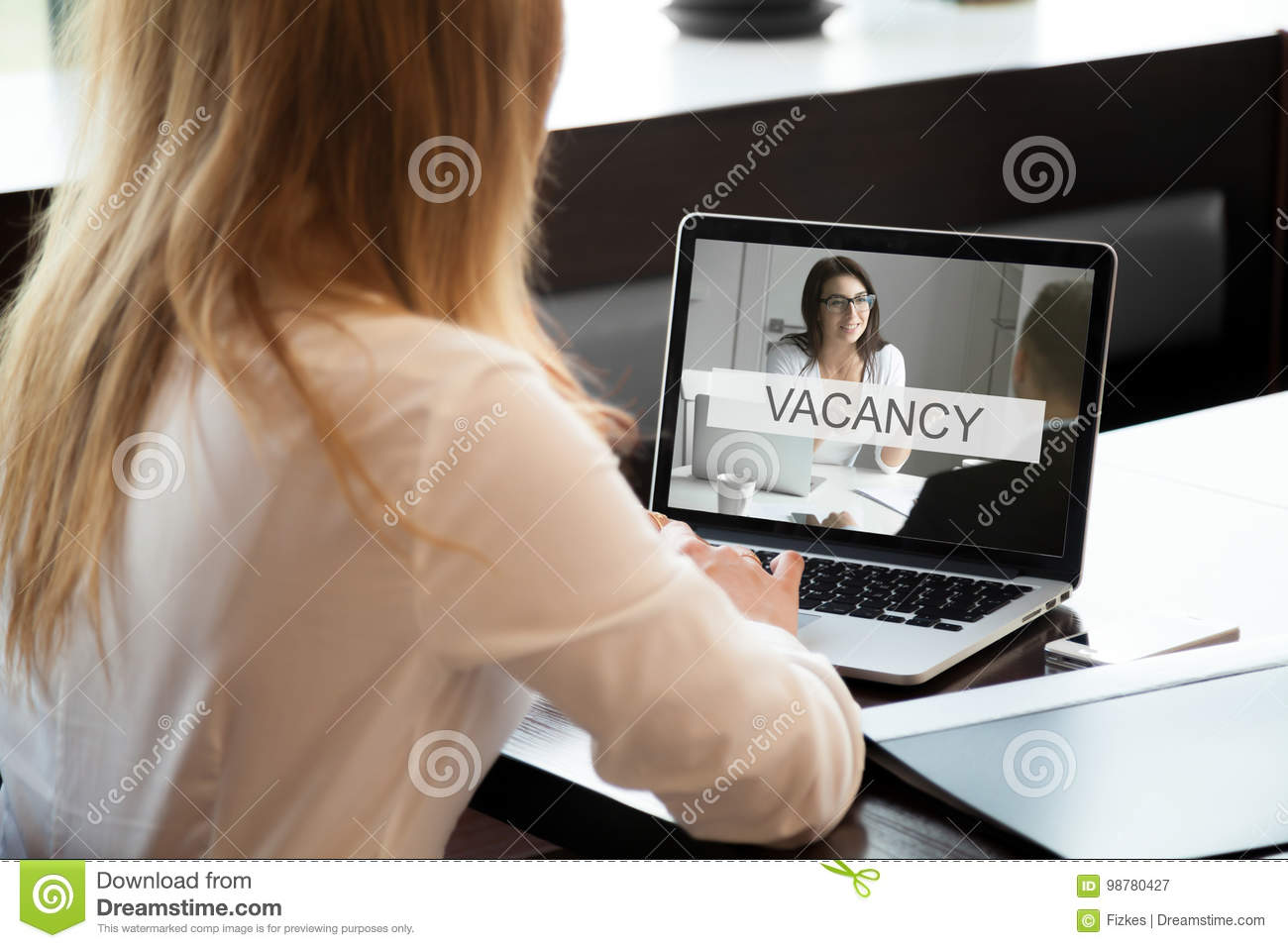 HR manager opens available company vacancy, job offer online, cl