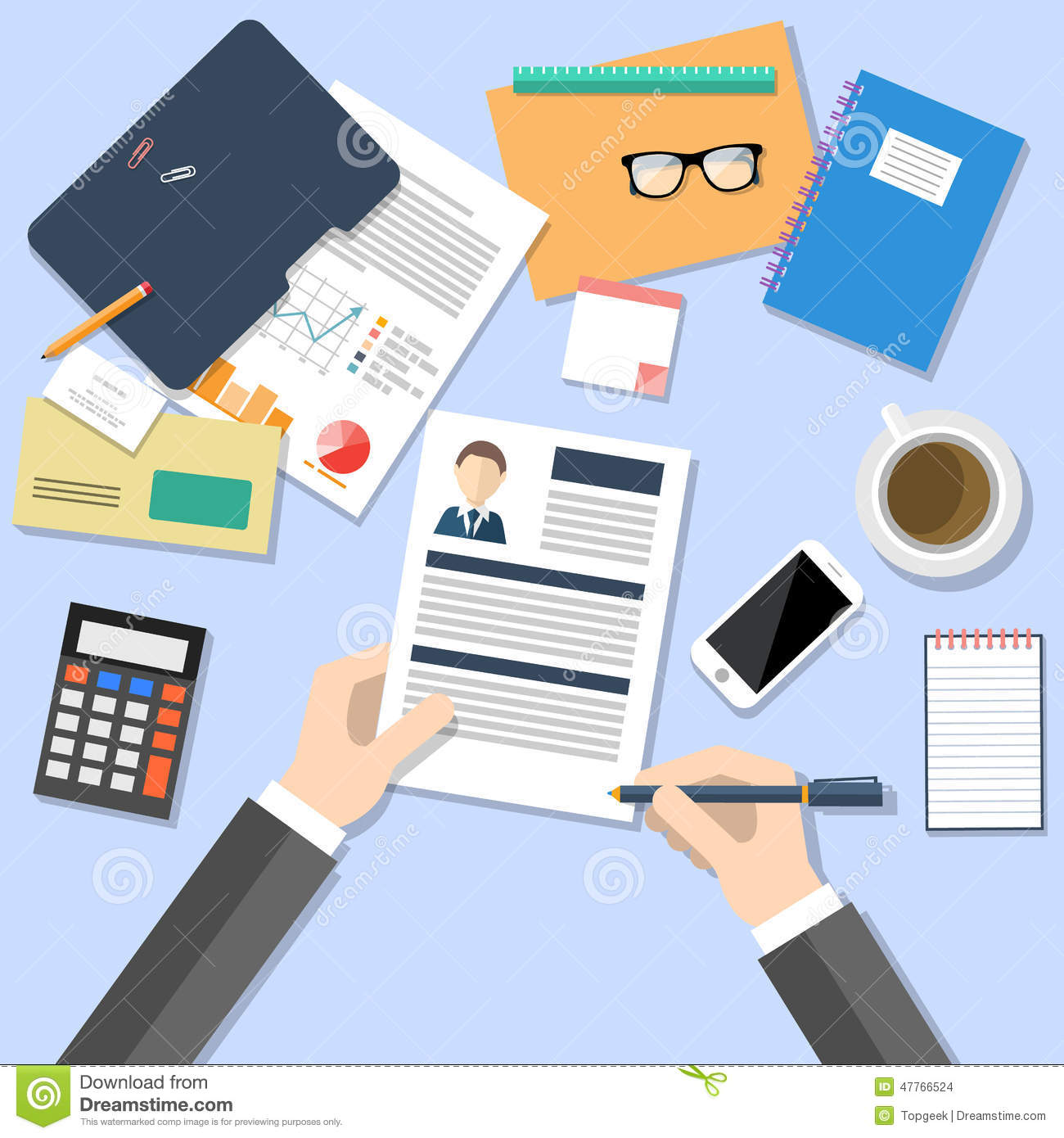 Hr Manager Working With Cv Concept Stock Vector