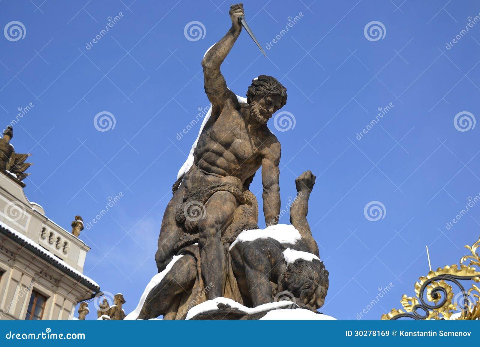 Hradcany城堡和作战的巨人雕象