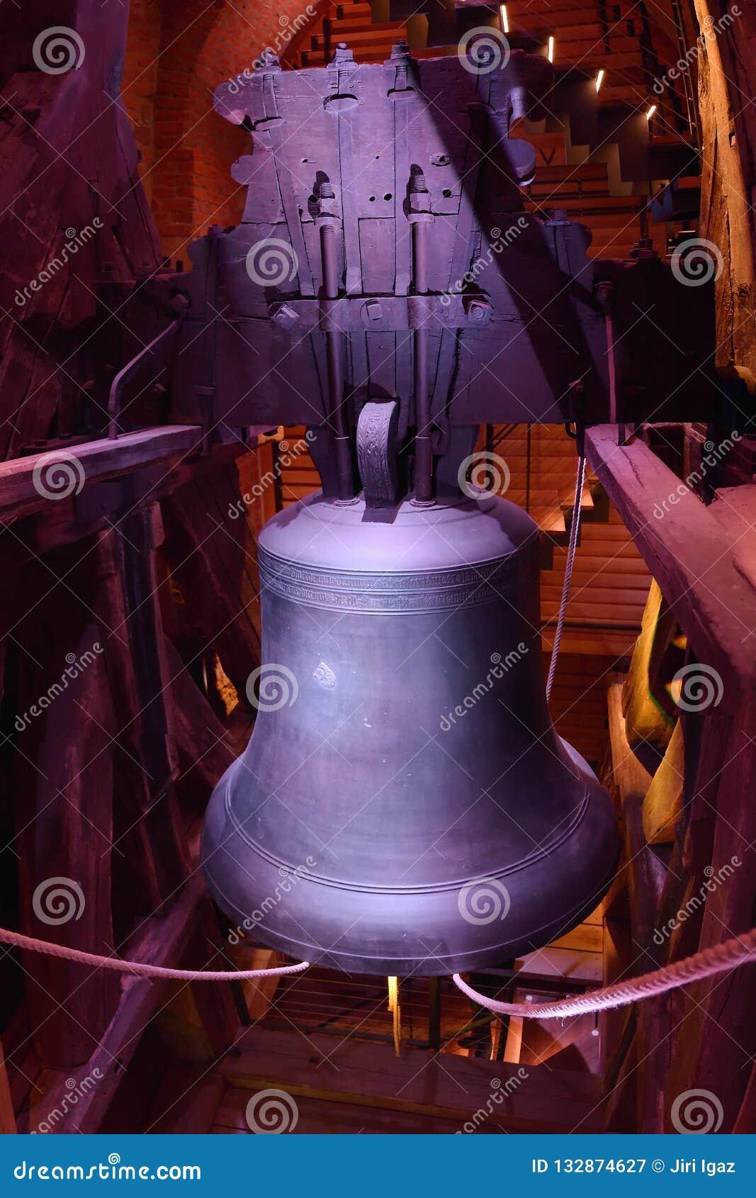 Hradec Kralove, Czech republic - November 17, 2018: big bell in Bila vez tower in day 29th anniversary of the Velvet Revolution
