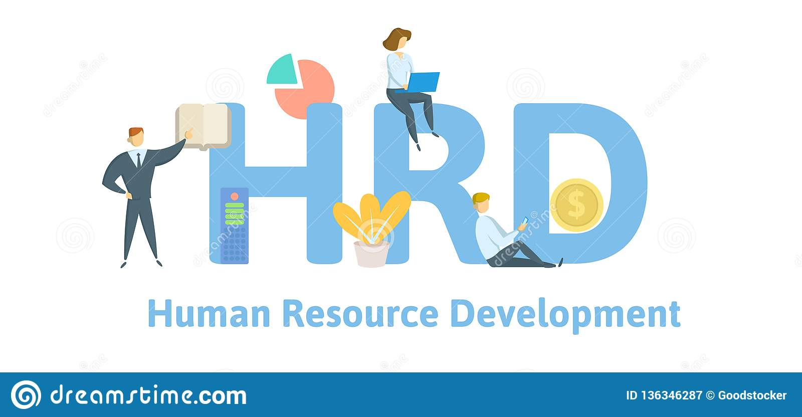 hrd  human resource development  concept with keywords  letters and icons  flat vector