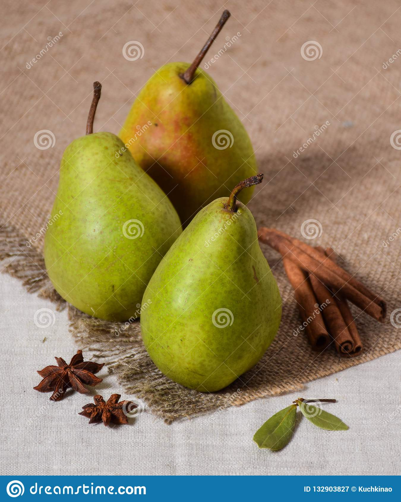 Tree green pear rustic style cinammon anis fruit fresh burlap