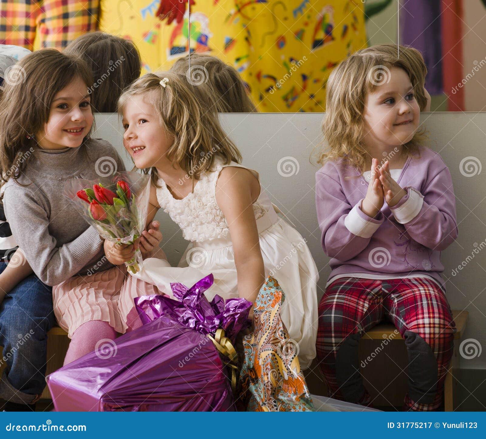 Hree Little Girls At Birthday Party Having Fun Royalty