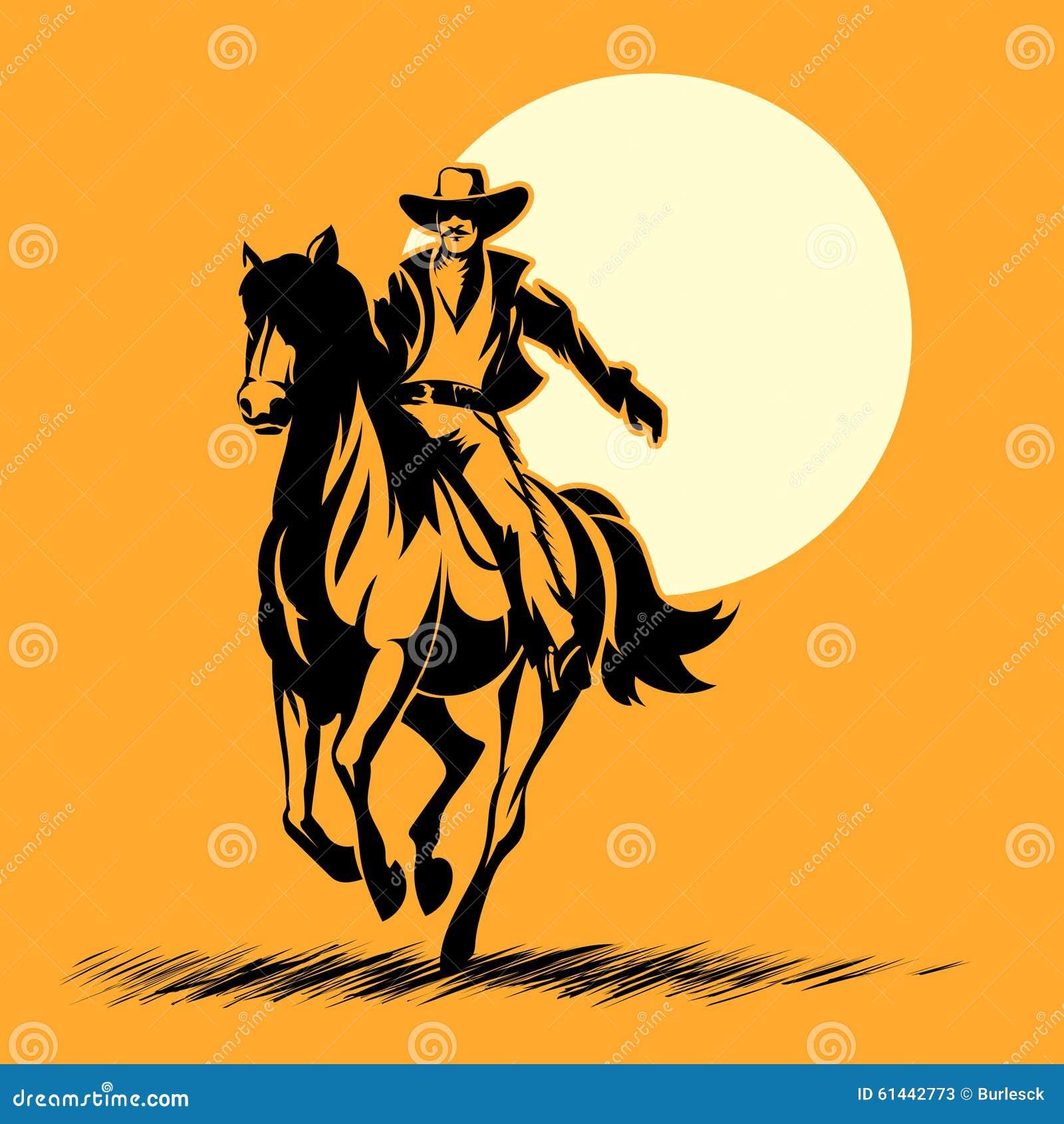 Siluetas De Vaqueros Del Oeste