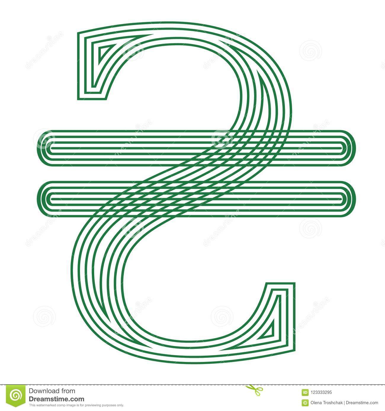 Hryvnia Ukraine Currency Symbol Icon Striped Vector Illustration