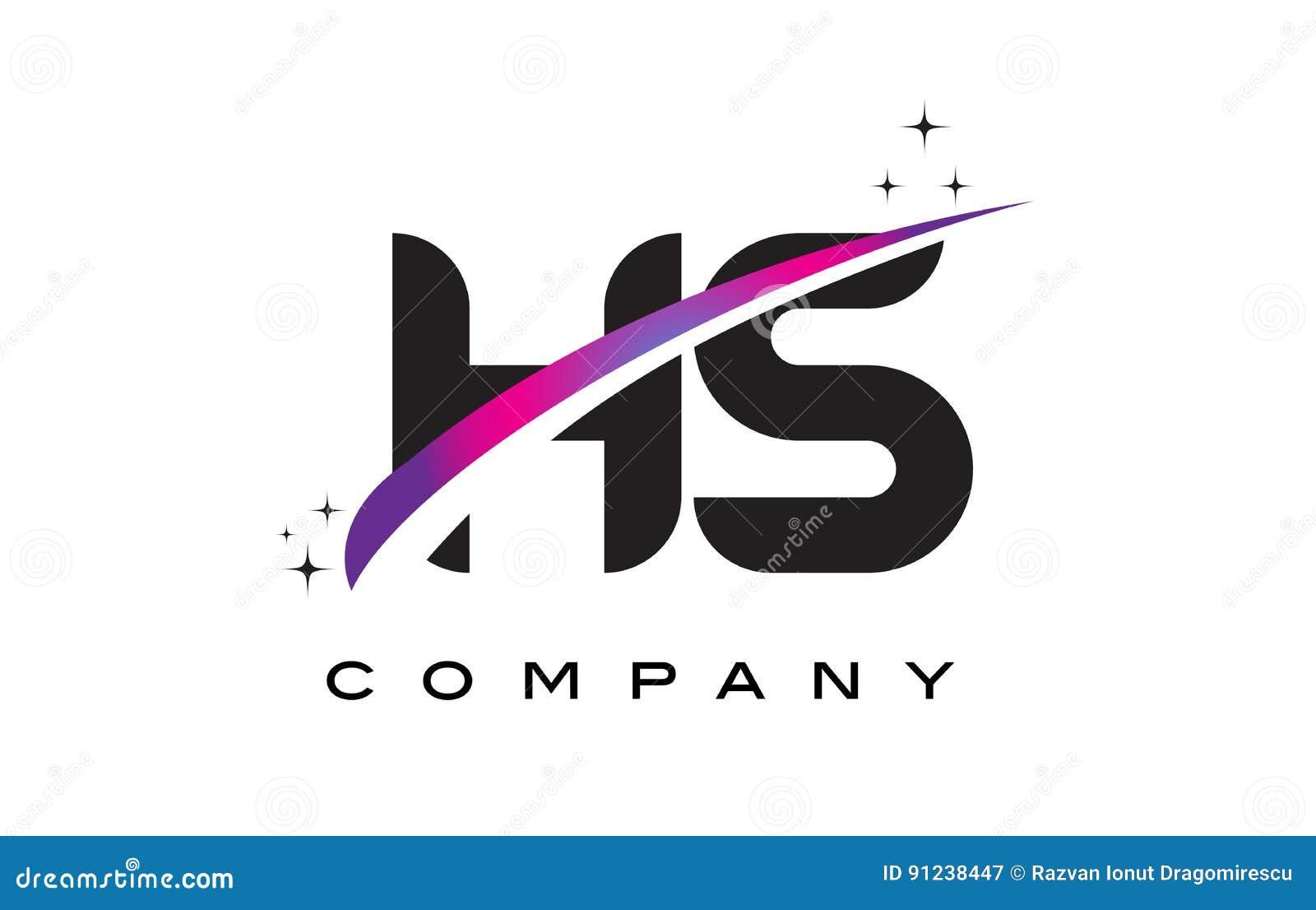 hs h s black letter logo design with purple magenta swoosh stock