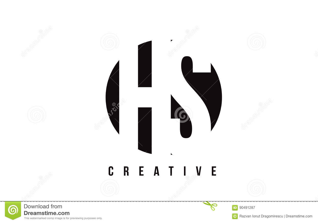 hs h s white letter logo design with circle background stock vector