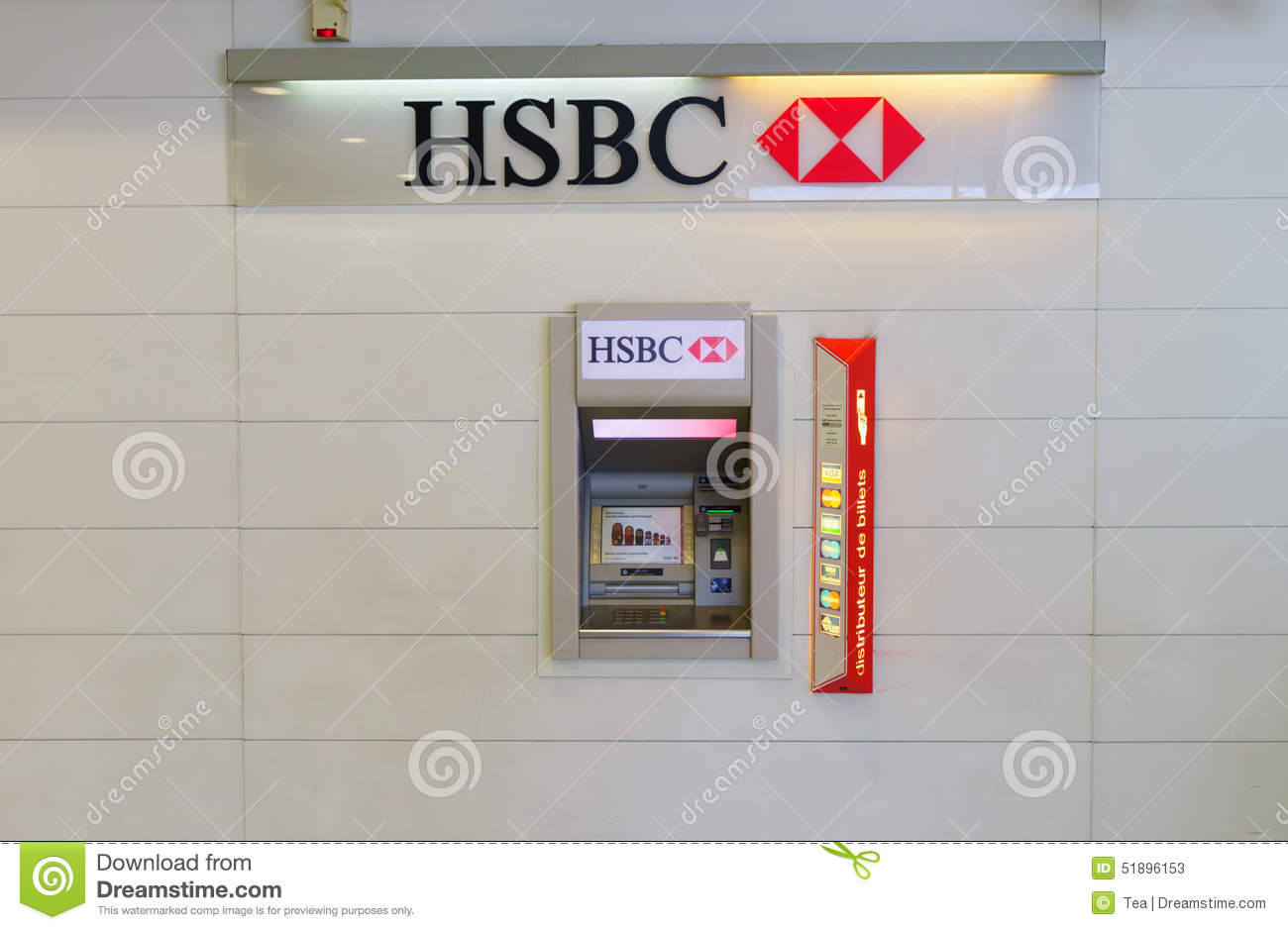 HSBC ATM editorial stock photo  Image of commerce, screen