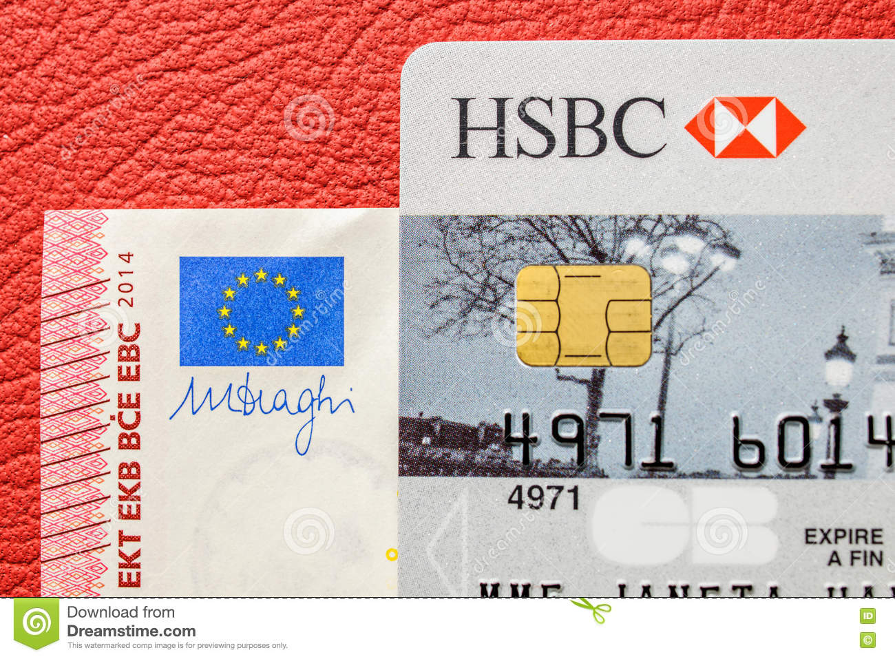 HSBC Card And Ten Euro Bank Note On Leather Upholstery Car Editorial