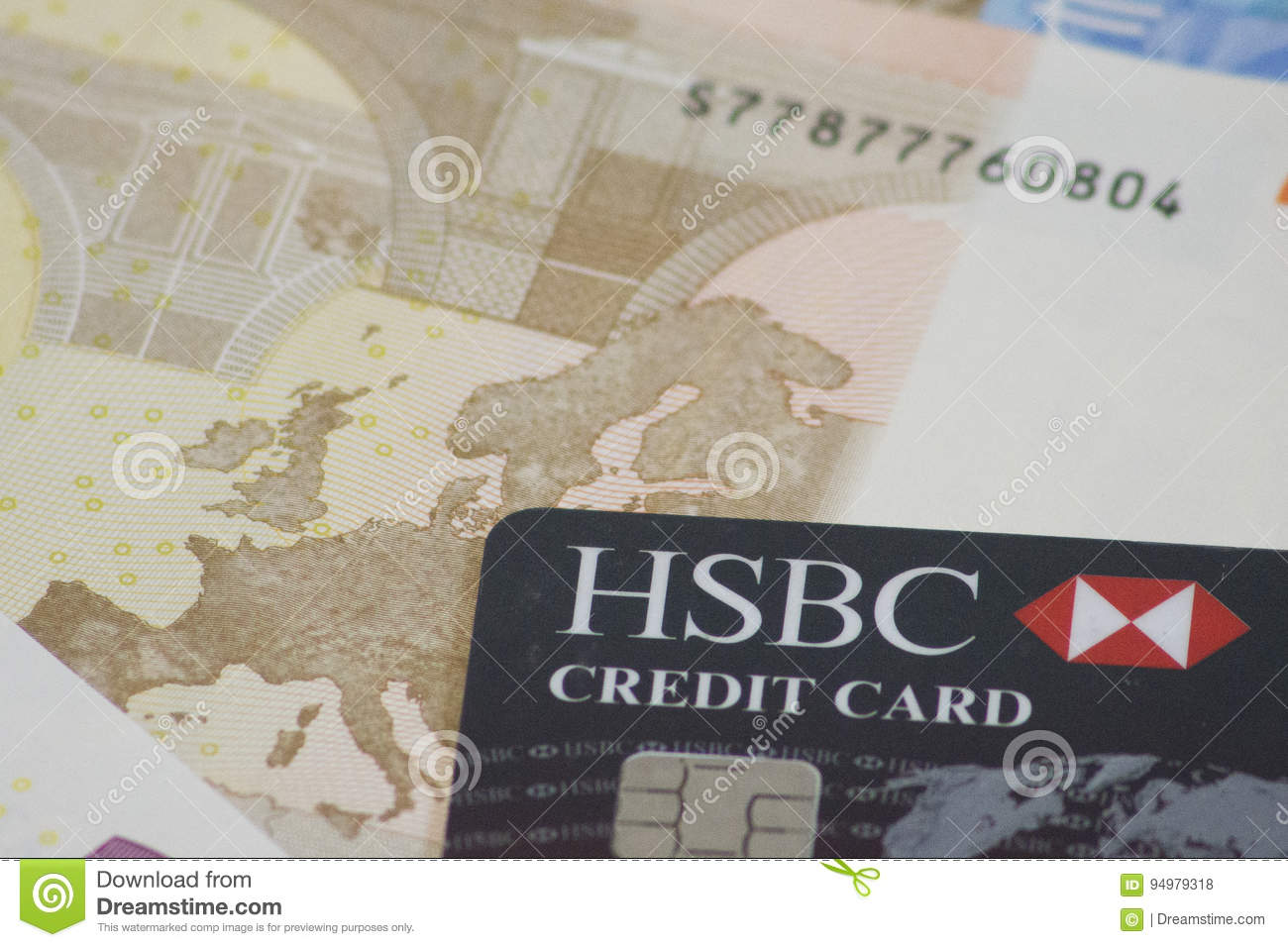 HSBC Credit Card On Euro Note Editorial Stock Photo - Image of