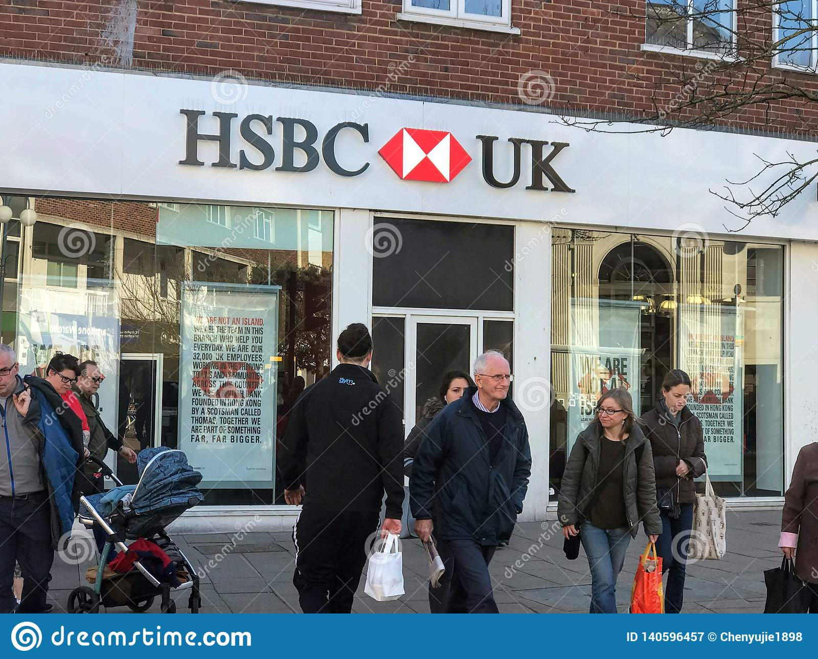 Hsbc uk bank branch editorial photography  Image of corporation