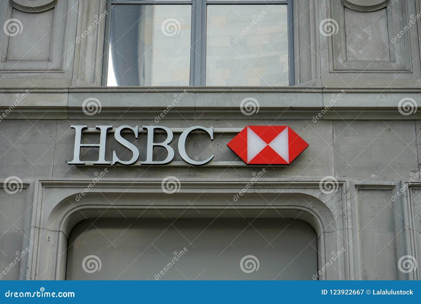 HSBC Logo On Building At Paradeplatz In Zurich Switzerland, 17 06