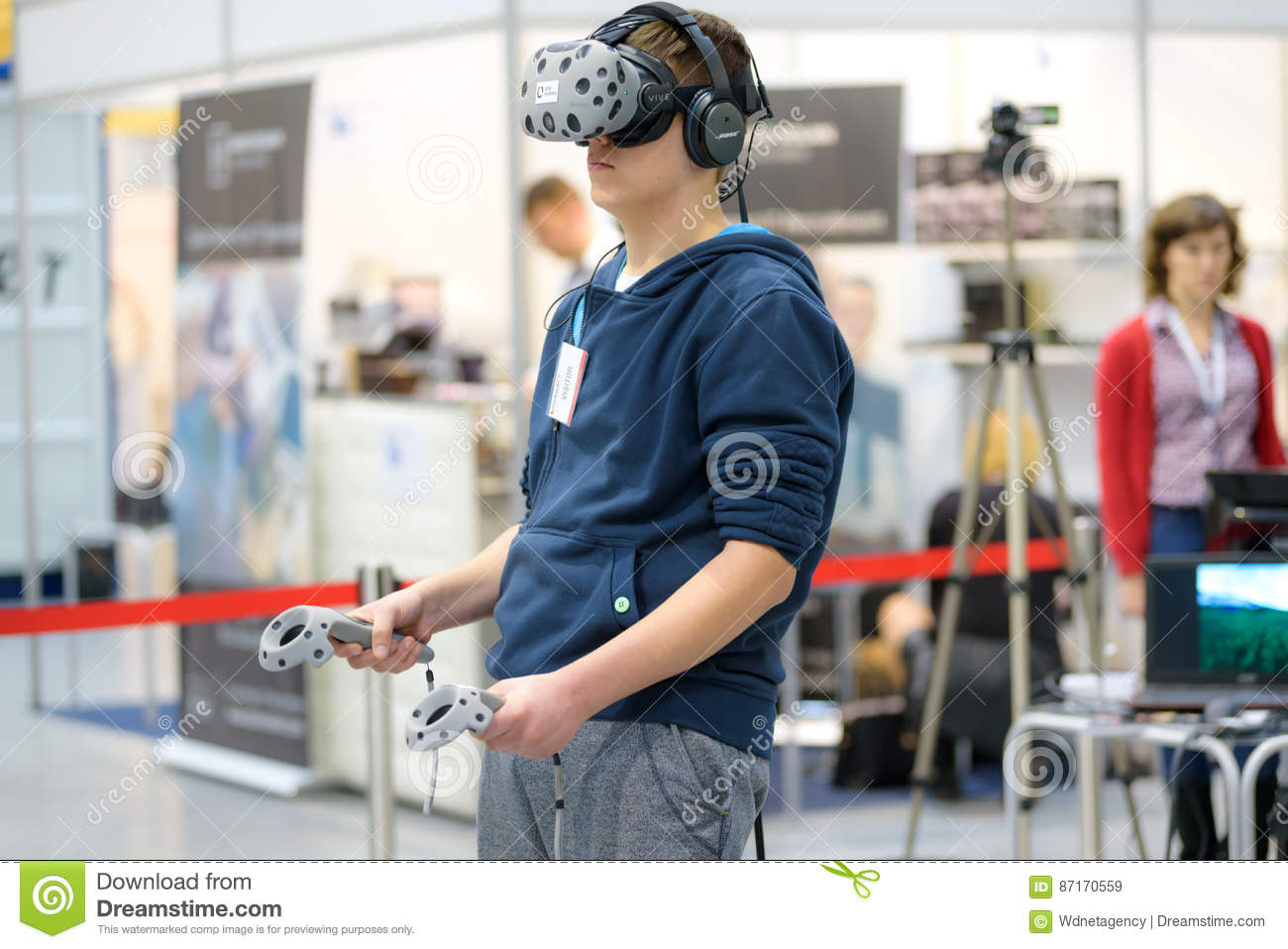 HTC VIVE - Virtual Reality System Editorial Stock Image - Image of