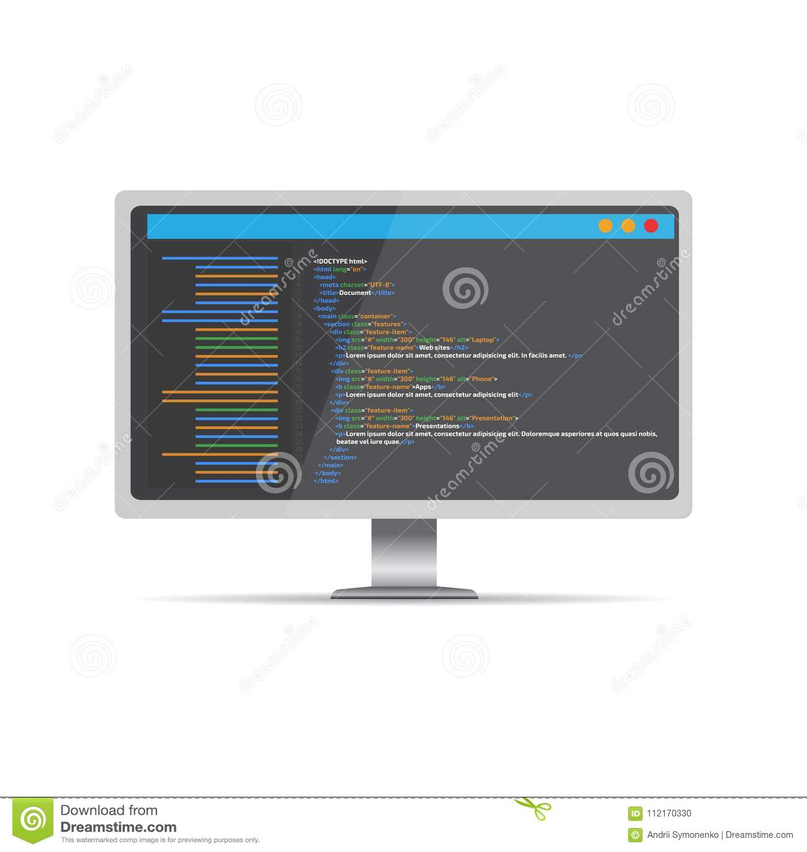 HTML Code Website  Desktop Coding, Programming Concept