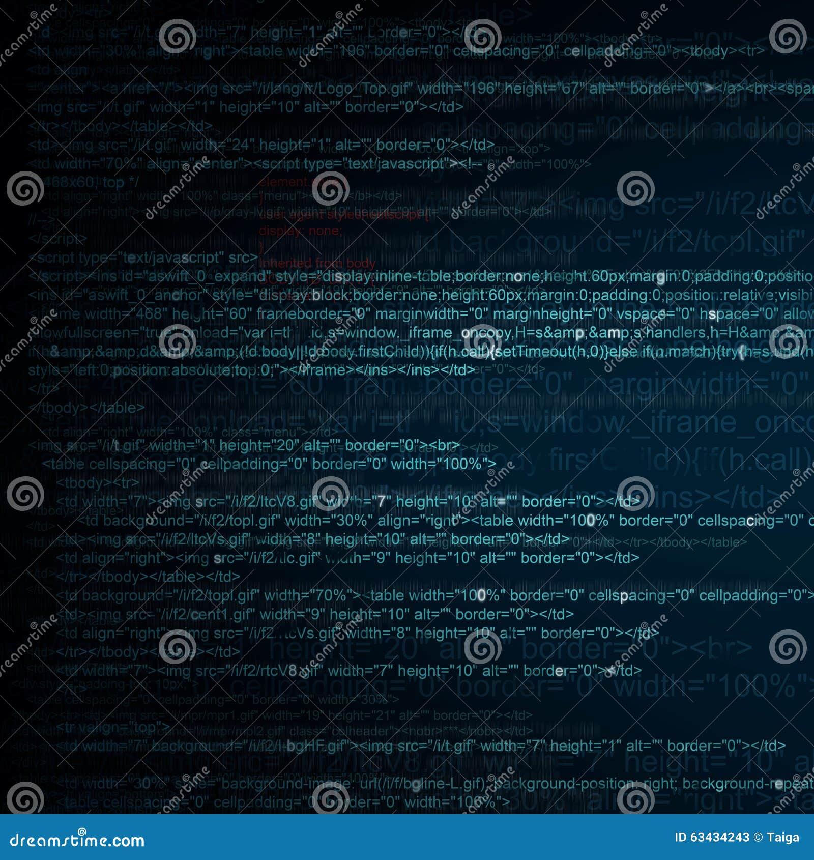 HTML Computer Code Background Stock Photo - Image: 63434243