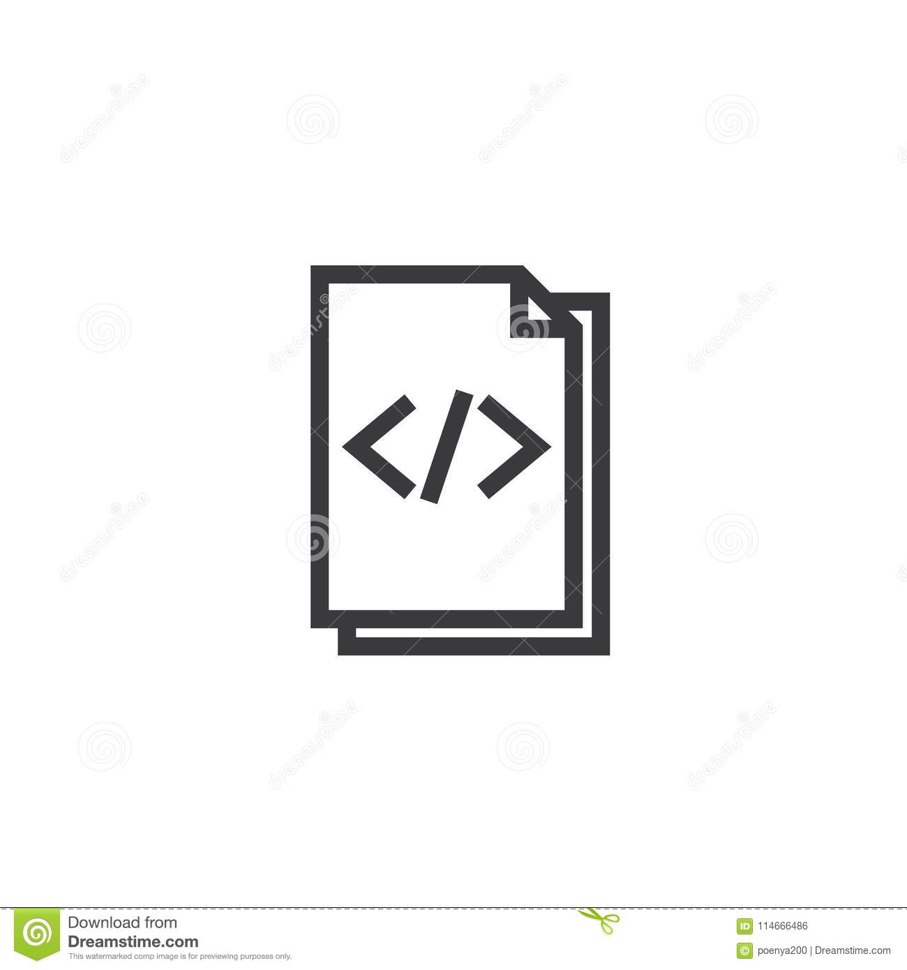 Html Document Paper Outline Icon Isolated Note Paper Icon In Thin
