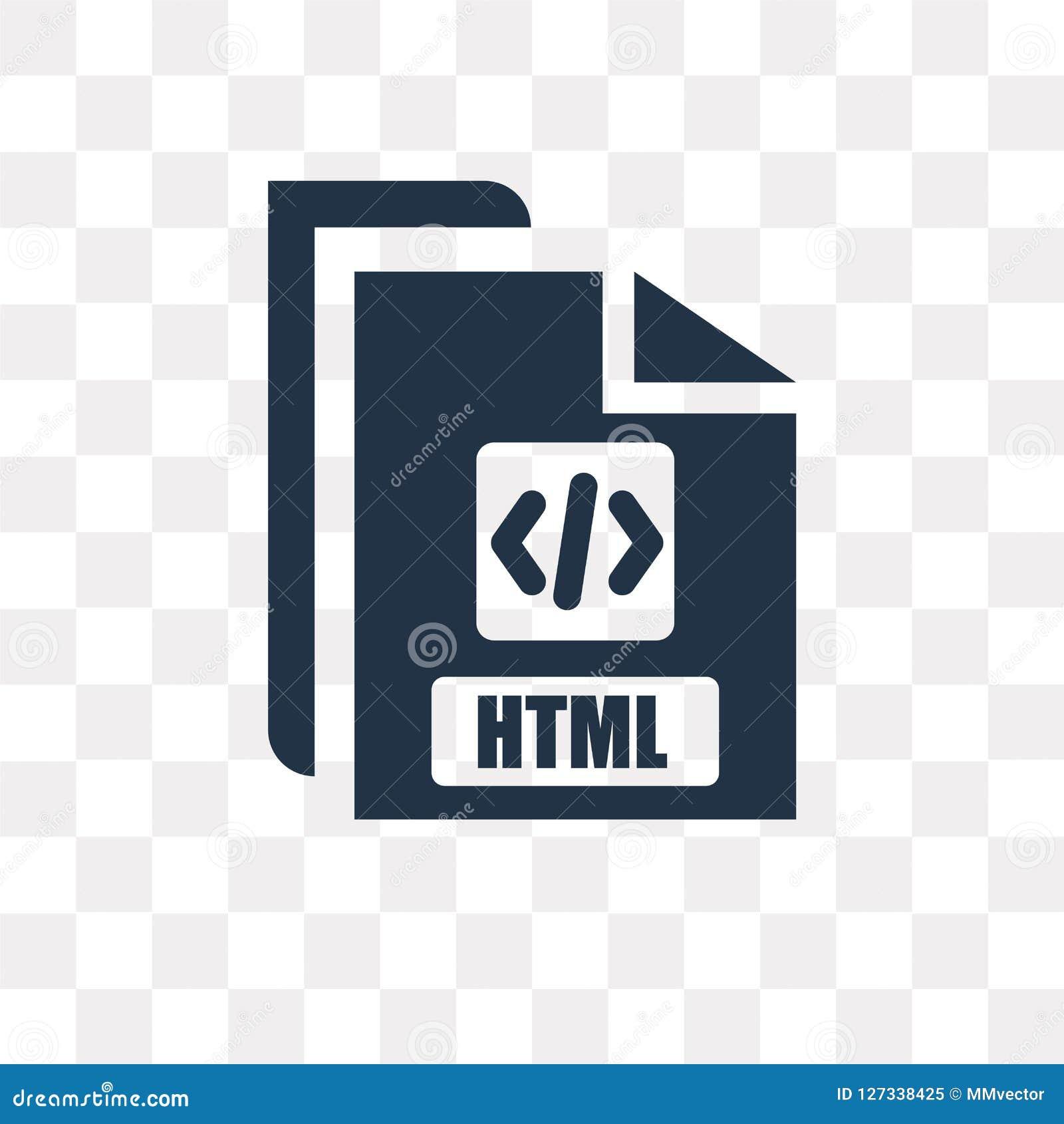 Html wektorowa ikona odizolowywająca na przejrzystym tle, Html trans
