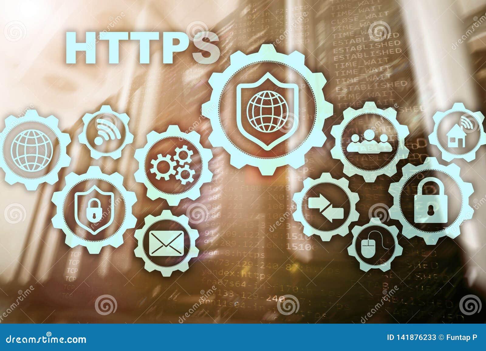 Https Protocolo de transporte del hipertexto seguro Concepto de la tecnología en fondo del sitio del servidor Icono virtual para