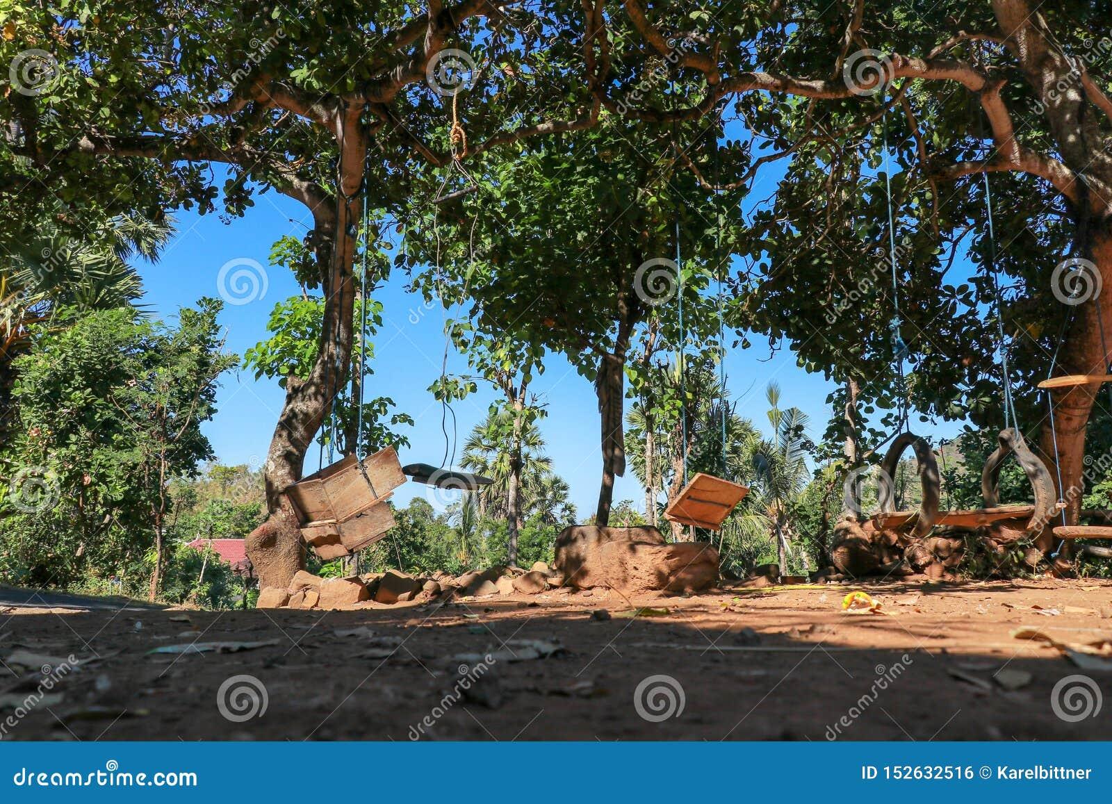 Huśtawki dla dzieci wiesza na tropikalnych drzewach Niedroga zabawa dla balijczyków dzieciaków Huśtawki robić arkany, stare opony