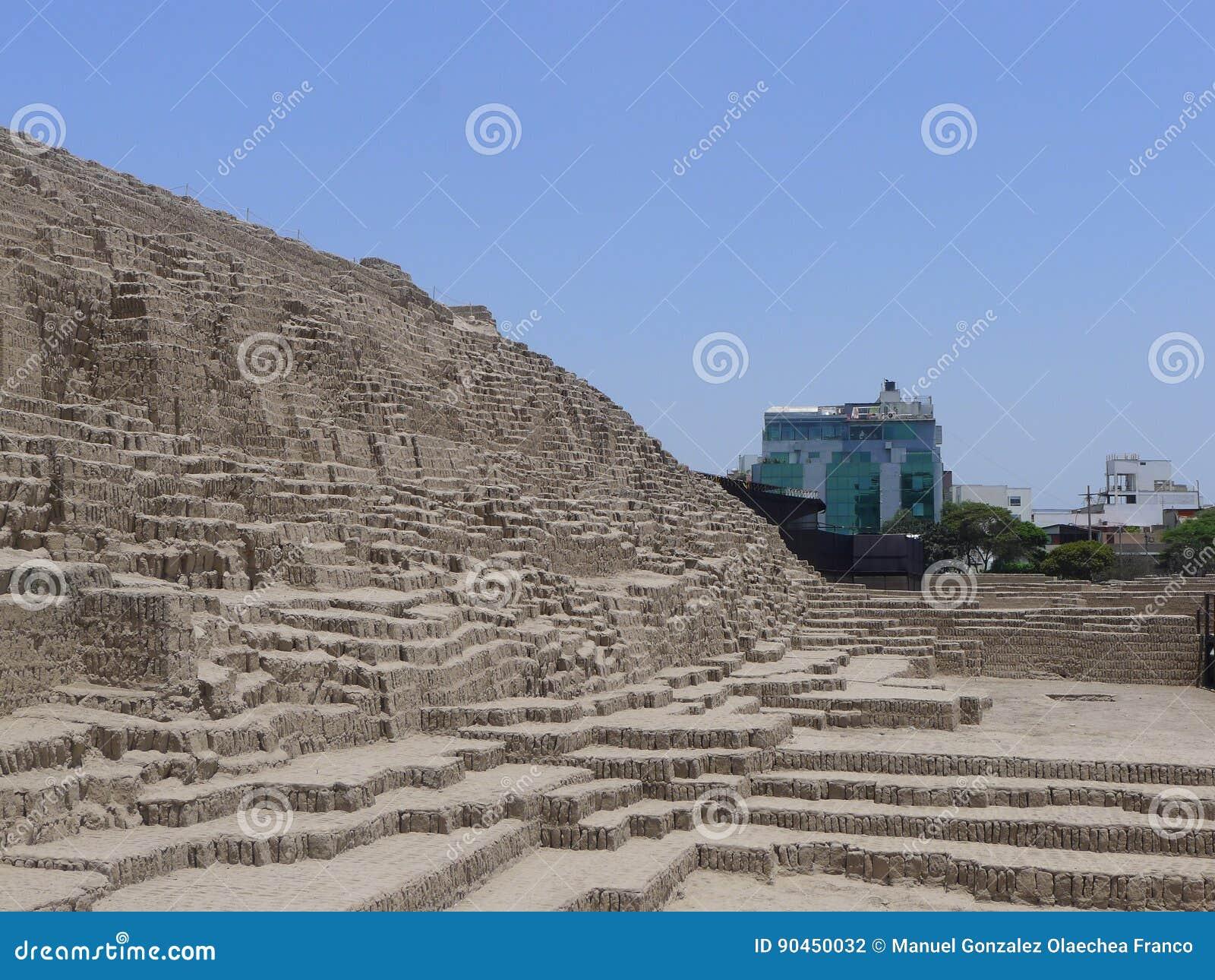 huaca pucllana old pyramid at miraflores lima stock photo image