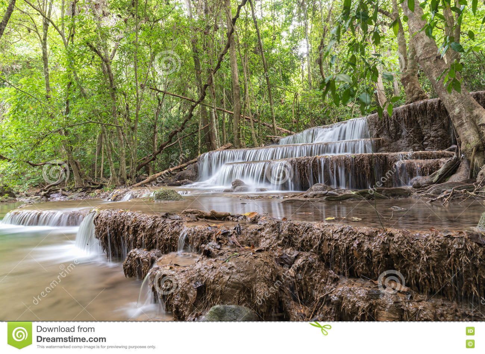 Huai Mae Kamin-Wasserfall Srinakarin-Verdammung in Kanchanaburi