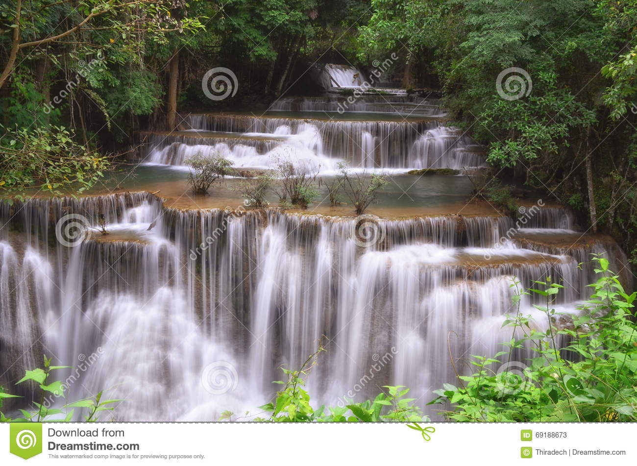 Huai Mae Khamin Waterfall Stock Photo - Image: 69188673