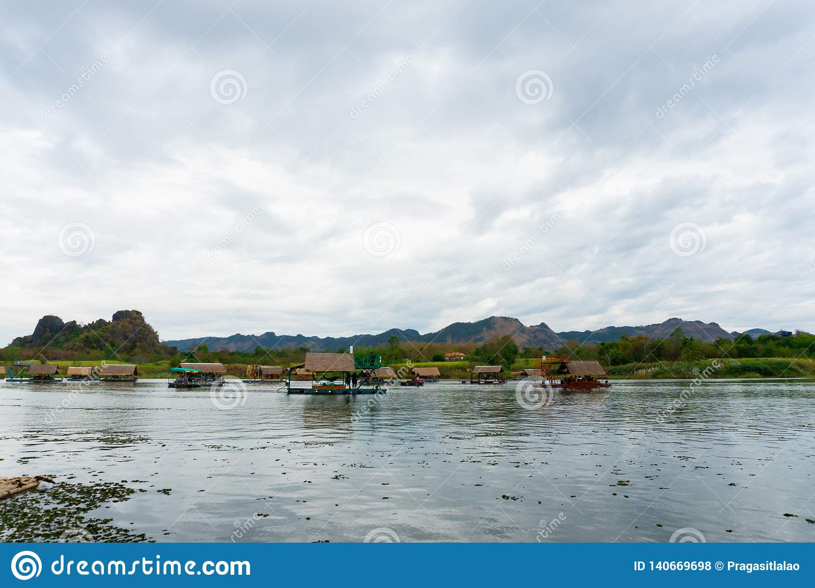 Huai Muang, Thailand lake with boat house the place of relax
