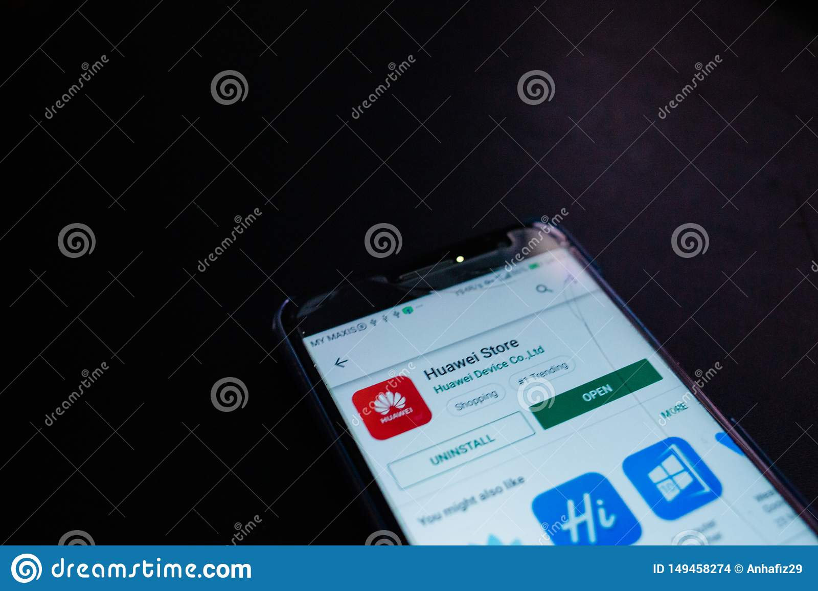 Huawei store application close up on smartphone screen