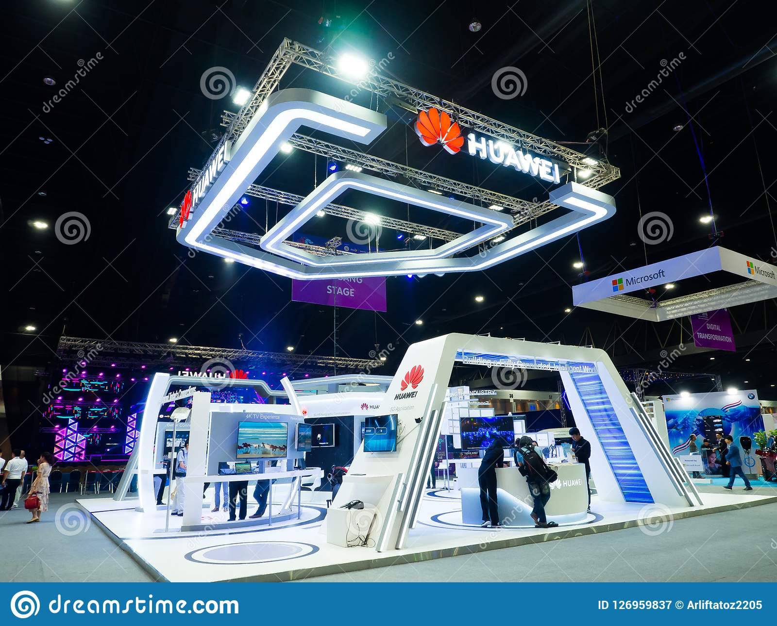 Huawei Technologies Co., Ltd. is a Chinese multinational networking, telecommunications equipment at company Exhibition booth.