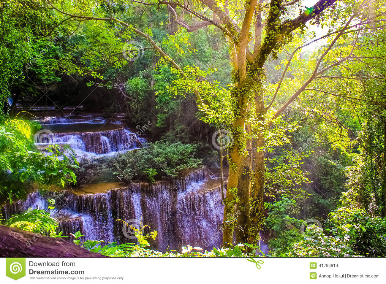 Huay Mae Kamin Waterfal Stock Photo - Image: 41796614