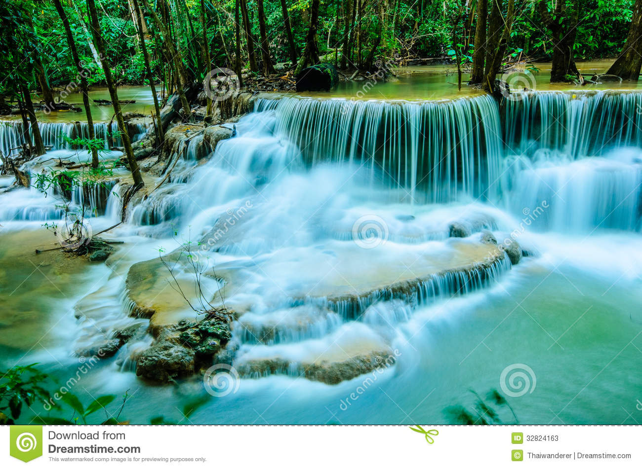 ... Waterfall is so beautiful of waterfall in Thailand, Huay Mae Khamin