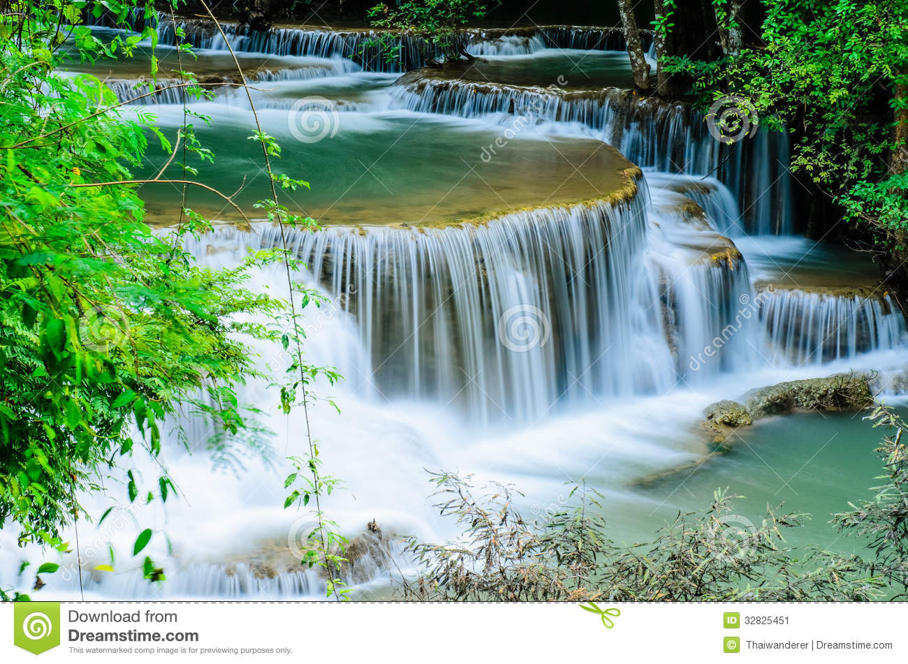 Huay Mae Khamin Waterfall Flowing Water Paradise In