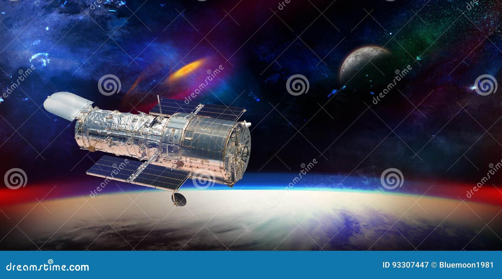 Hubble teleskop mit sternen und galaxien in der weltraumvertretung