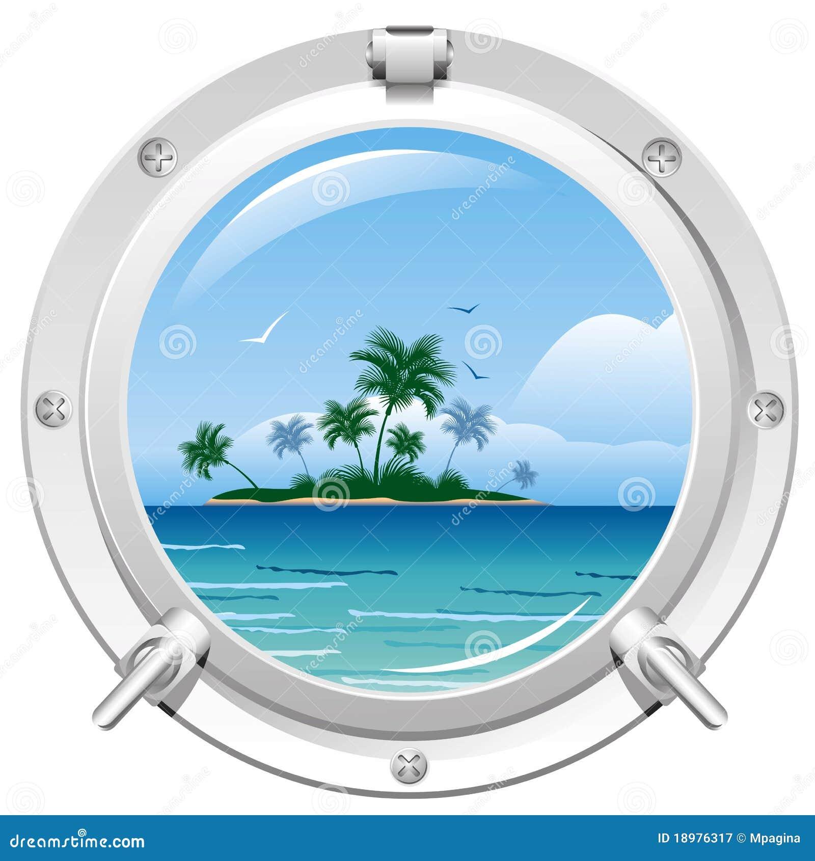hublot avec la vue de mer illustration de vecteur illustration du seascape 18976317. Black Bedroom Furniture Sets. Home Design Ideas
