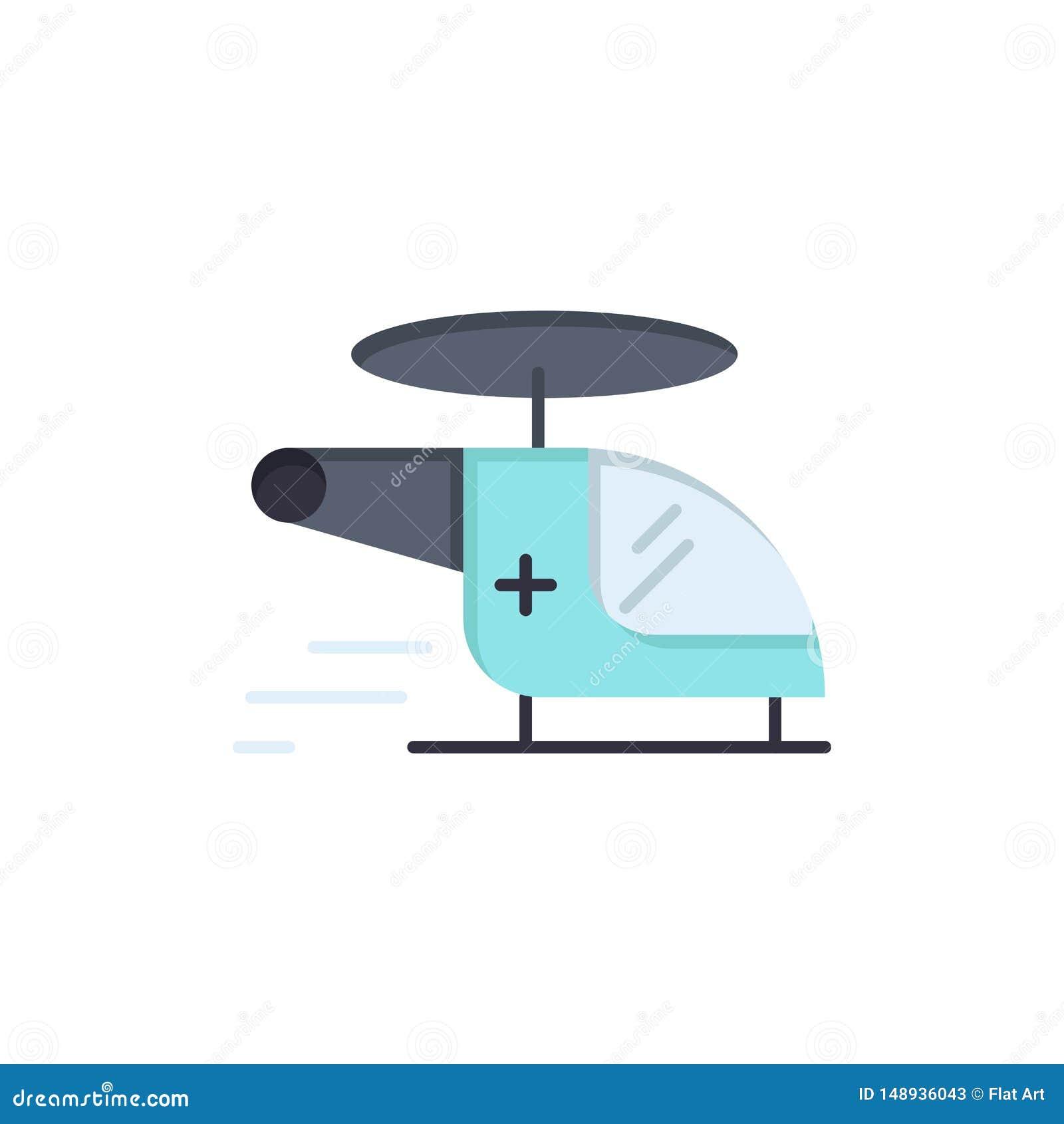 Hubschrauber, Zerhacker, medizinisch, Krankenwagen, Luft-flache Farbikone Vektorikonen-Fahne Schablone
