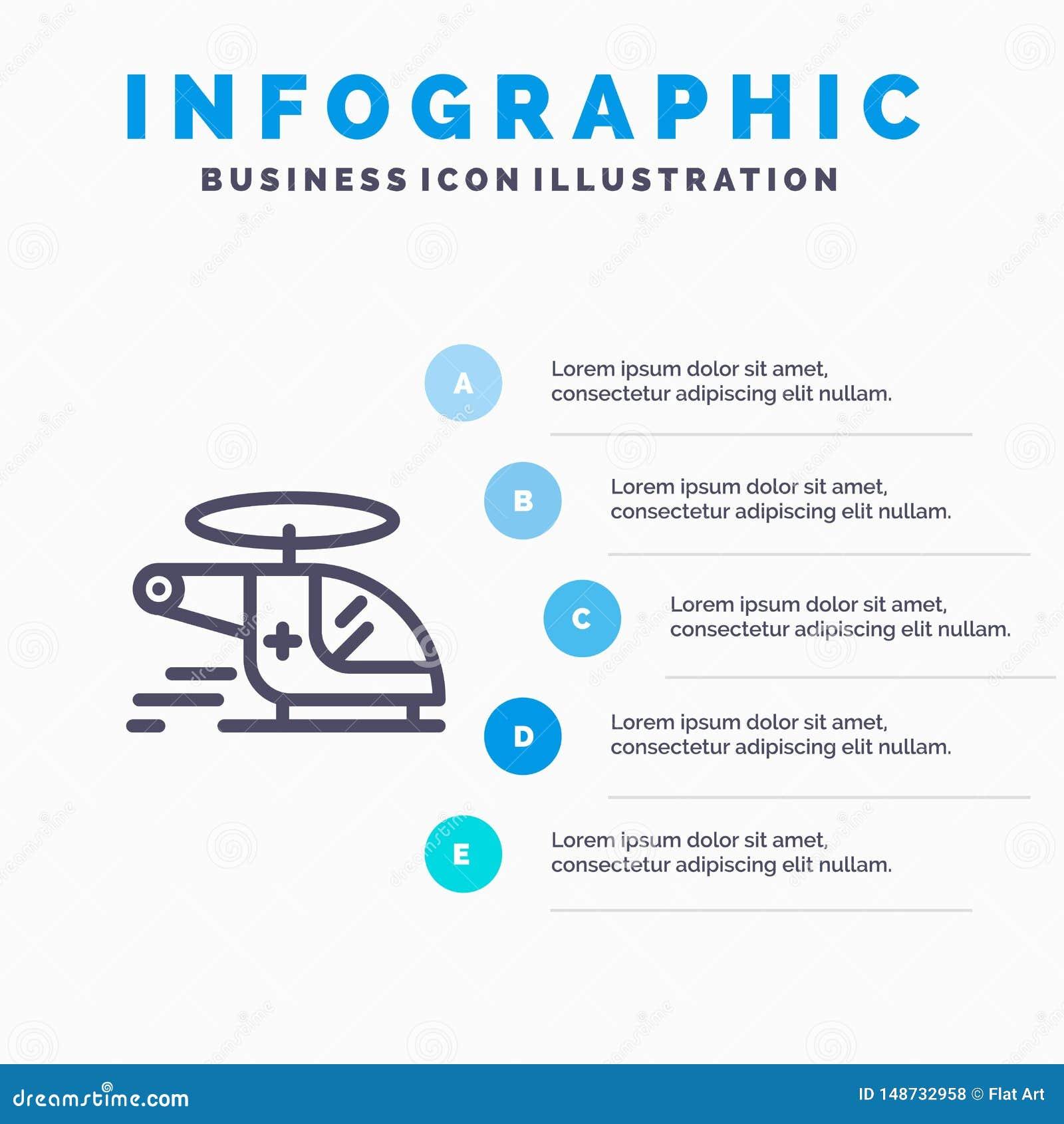 Hubschrauber, Zerhacker, medizinisch, Krankenwagen, Luftverkehrslinie Ikone mit Hintergrund infographics Darstellung mit 5 Schrit