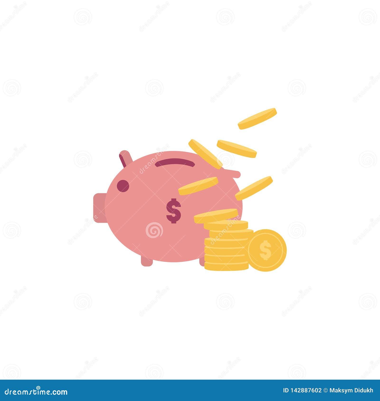 Hucha con el ejemplo del vector de la moneda Ahorro o acumulación de dinero, inversión del icono El concepto de actividades banca