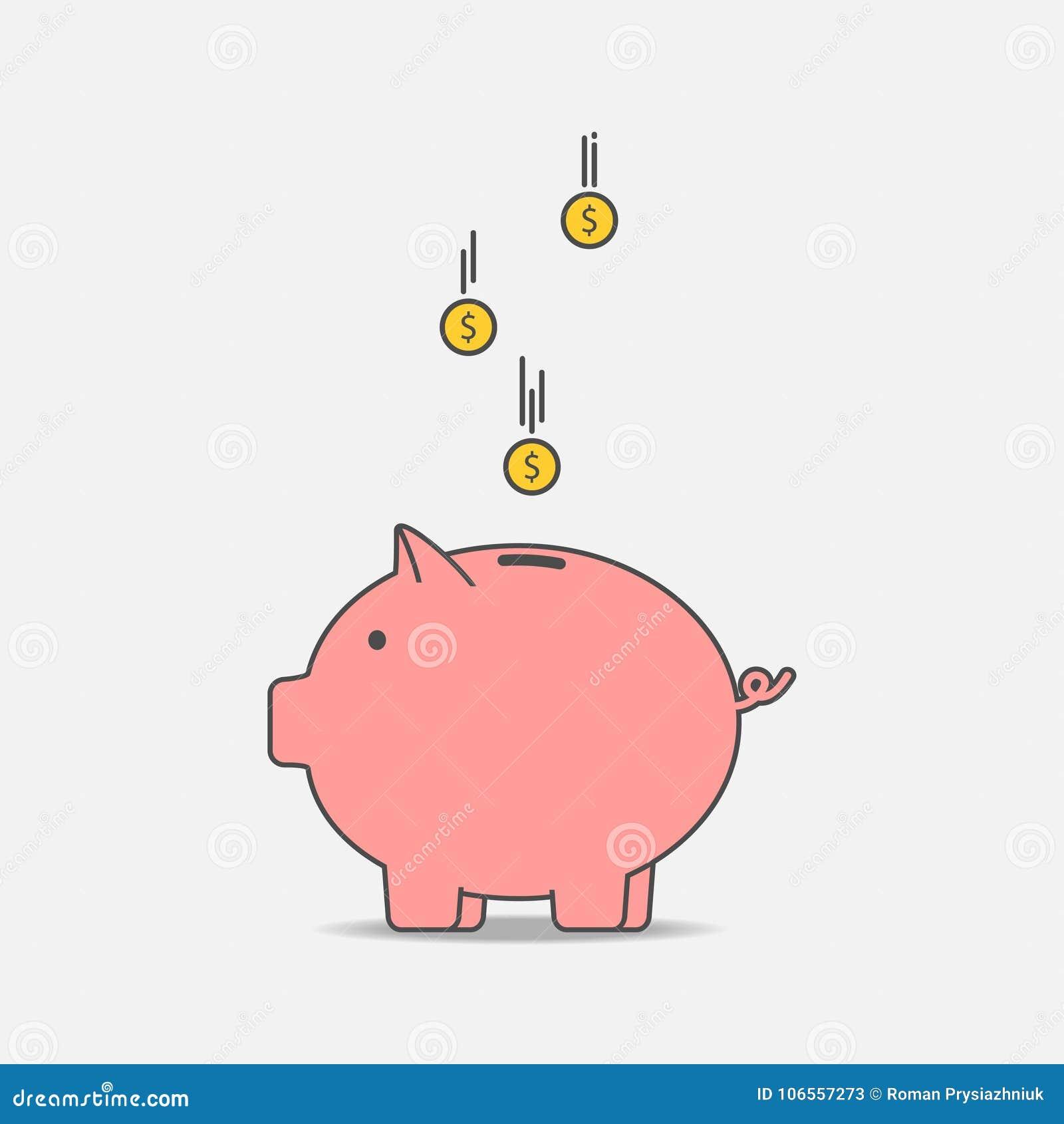 Hucha Con La Moneda E Concepto De Dinero Del Ahorro Vector ...