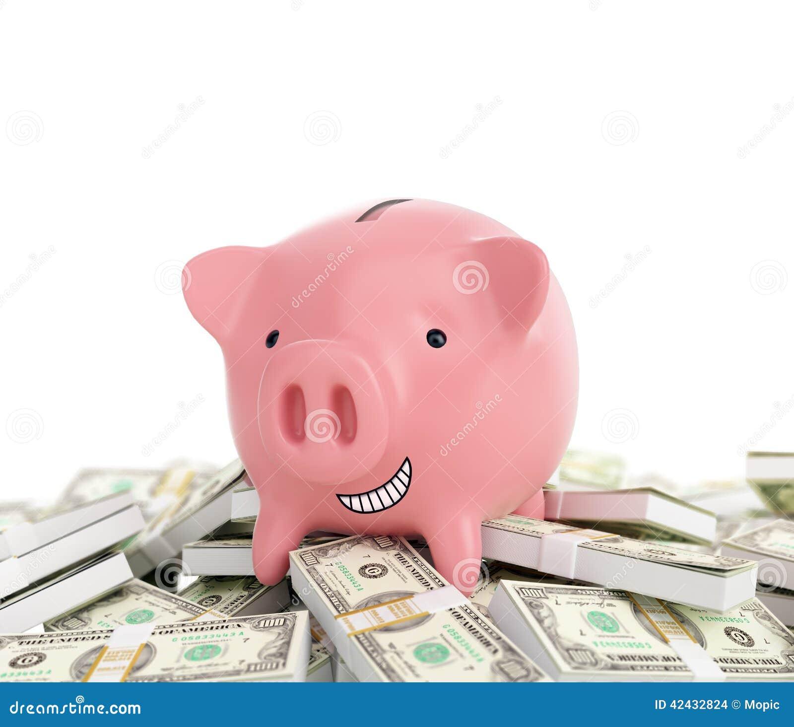 Hucha en una pila de dinero