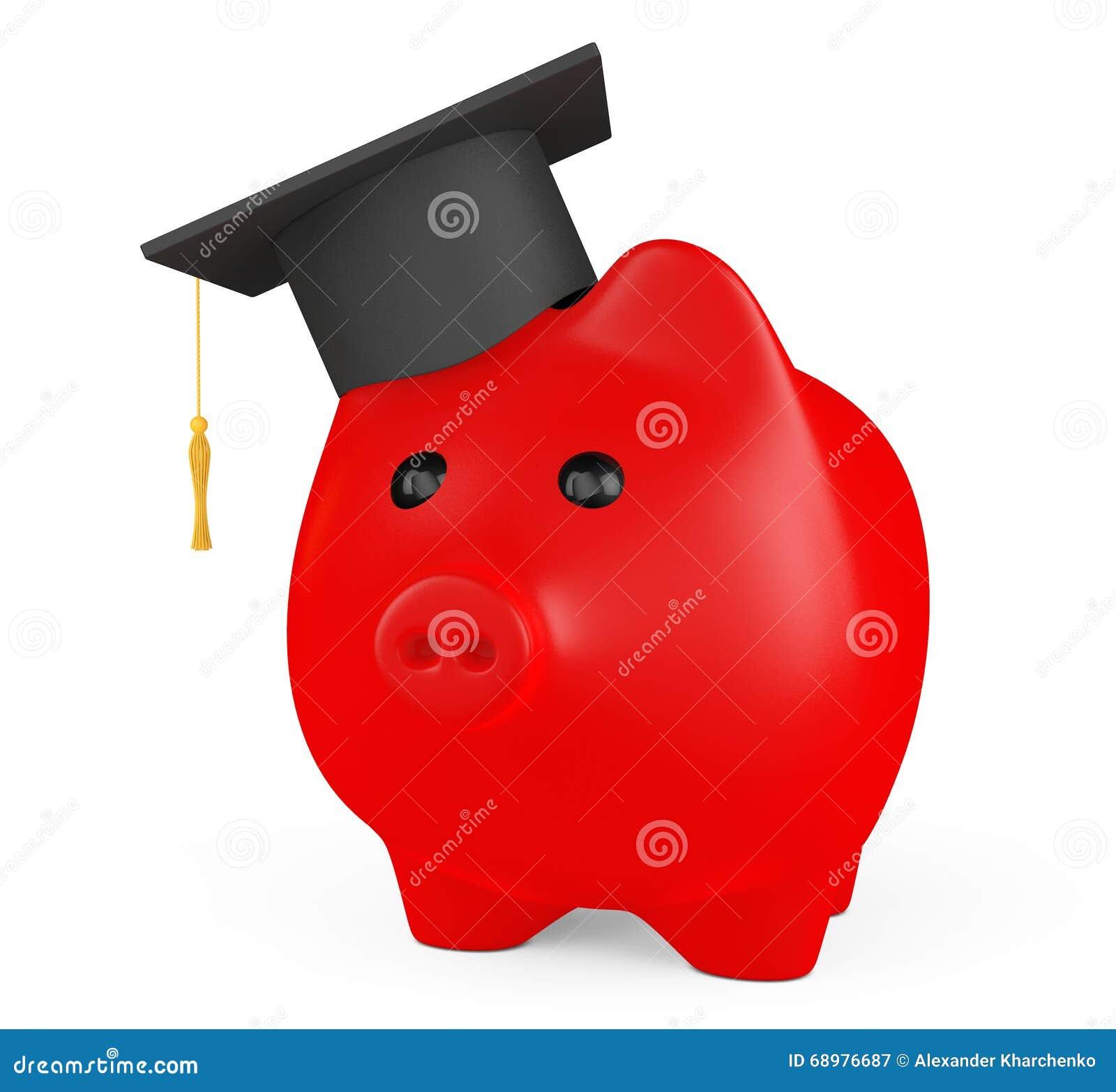 Hucha roja con el sombrero de la graduación
